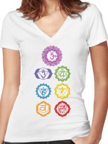 7 Chakras  Women's Fitted V-Neck T-Shirt