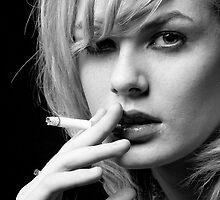 Portrait of Blonde woman smoking by Robert Ellis