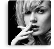 Portrait of Blonde woman smoking Canvas Print