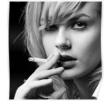 Portrait of Blonde woman smoking Poster