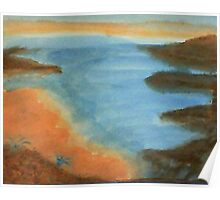 Heading Out From the Coves, watercolor Poster
