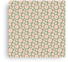 Vintage green pink retro girly pattern Canvas Print