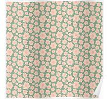 Vintage green pink retro girly pattern Poster
