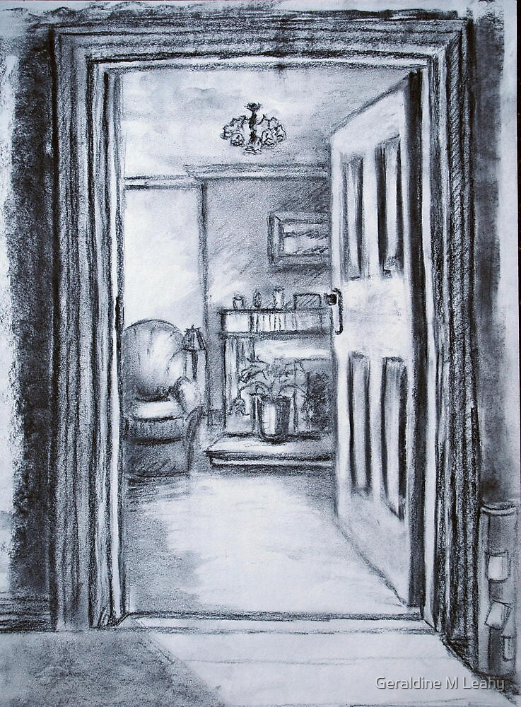 View into Sitting Room (in Charcoal) by Geraldine M Leahy