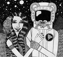 Girl with Ancient Astronaut by Bethy Williams