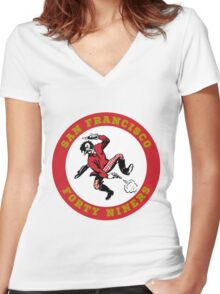 San Fransisco 49ers logo 2 Women's Fitted V-Neck T-Shirt