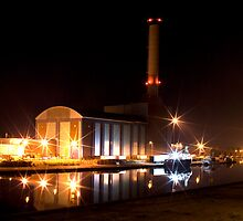 Shoreham Power Station at Night by oindypoind