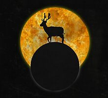 Deer Walking On The Moon by barruf