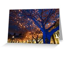 Blue Trees with Twinkling Blossoms Greeting Card