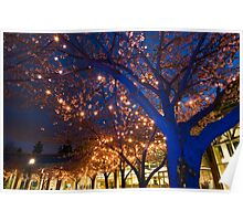 Blue Trees with Twinkling Blossoms Poster