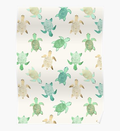 Gilded Jade & Mint Turtles Poster