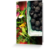 Ripe black raspberries and summer flowers Greeting Card