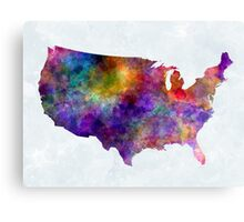USA map in watercolor  Canvas Print
