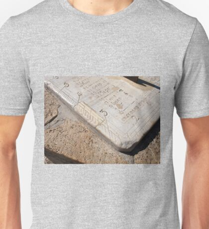 Detail of ancient stone dial sundial closeup Unisex T-Shirt
