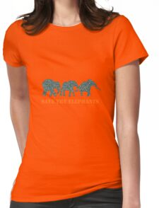 Save the Elephants Paisley Pattern Womens Fitted T-Shirt