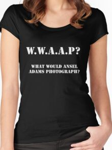What Would Ansel Adams Photograph? Dark Women's Fitted Scoop T-Shirt