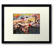 illusion above two empty forests below.. Framed Print