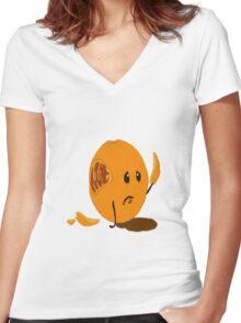 Sad Orange Women's Fitted V-Neck T-Shirt