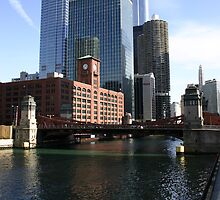 Skyline from Wacker Way - Chicago MY Fav. City  by Daniel  Oyvetsky