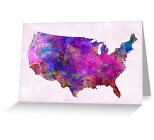 USA map in watercolor  Greeting Card