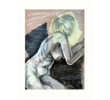 Woman Leaning - chalk drawing Art Print
