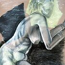 Woman Leaning - chalk drawing by Victoria limerick