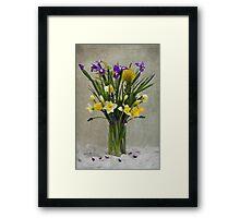 Daffodils and Irises Framed Print
