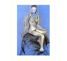 Lady on Blue - chalk & charcoal sketch Art Print