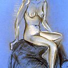 Lady on Blue - chalk & charcoal sketch by Victoria limerick