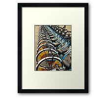 Bicycle Stacks-downtown Beijing Framed Print