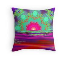 Sunset In Fractal Land Throw Pillow