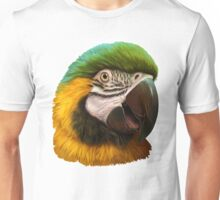 Blue and gold macaw realistic painting Unisex T-Shirt