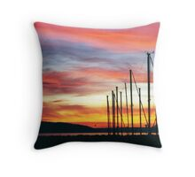 Seattle Pier Sunset Throw Pillow
