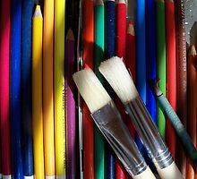 Tools of the trade - colored pencils and paint brush palette by Rick Short