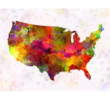 USA map in watercolor  Photographic Print