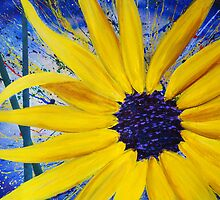 Ivy's Place - Sunburst sunflower in acrylic by Jonathan Manning