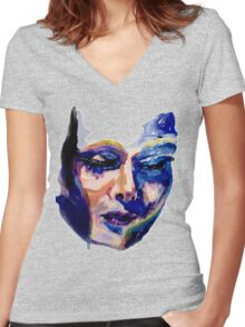 Face in acrylic Women's Fitted V-Neck T-Shirt