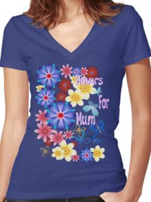 Flowers For Mum Women's Fitted V-Neck T-Shirt