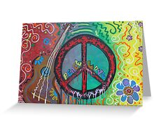 Peace and Love Original Hippie Art Greeting Card