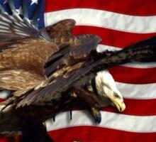 US FLAG & Bald Eagles Patriotic Design Sticker