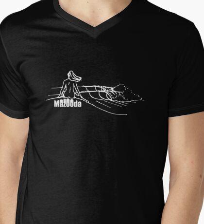 Mazooda_ChickWave_White Mens V-Neck T-Shirt
