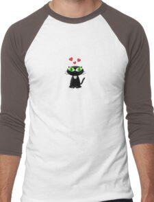 Lovely Cartoon Black Cat Men's Baseball ¾ T-Shirt