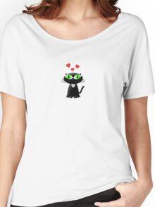 Lovely Cartoon Black Cat Women's Relaxed Fit T-Shirt