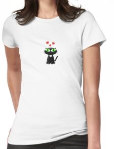 Lovely Cartoon Black Cat Womens Fitted T-Shirt