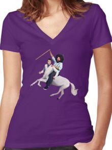 Comedy Bang Bang Women's Fitted V-Neck T-Shirt