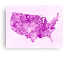 USA map in watercolor pink Canvas Print