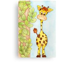 Adorable Giraffe with Leaves Canvas Print