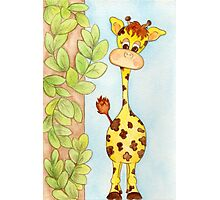 Adorable Giraffe with Leaves Photographic Print