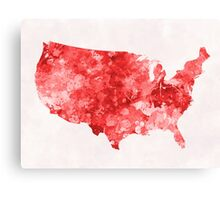 USA map in watercolor red Canvas Print