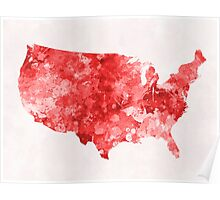 USA map in watercolor red Poster